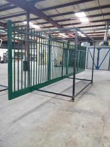 Aluminum Drive Gate. Powder coated Green