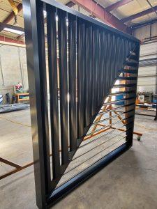 Aluminum drive gate. Powder coated Black.